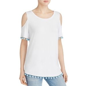 Alison Andrews Pom Pom cold shoulder top